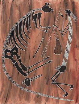 Sale 9099A - Lot 5041 - Bruce Nabegeyo (c1949 -2009) - Mimi Spearing a Kangaroo 77 x 57 cm (frame: 95 x 76 x 3 cm)