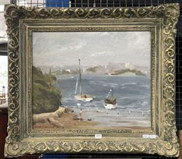 Sale 9111 - Lot 2001 - Lincoln B. Hamilton Bay Scene and Distant View of the City, oil on board, frame: 55 x 62 cm, signed lower left