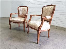Sale 9142 - Lot 1008 - Pair of Louis XV Style Carved Beech Armchairs, upholstered in a cream floral damask fabric & raised on cabriole legs (H: 95 x W: 68...