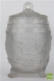 Sale 8481 - Lot 4 - 20th Century Frosted Glass Barrel Form Vase