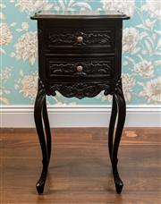 Sale 8500A - Lot 46 - A black French Provincial style bedside table, featuring tall cabriole legs & 2 drawers, ornately carved detail - Condition: Good (m...