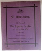 Sale 8639 - Lot 15 - In Memoriam, All who made The Supreme Sacrifice in the Great War 1914-1918, Commonwealth Parliament Houses Melbourne, Thanksgiving S...