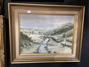 Sale 8895 - Lot 2019 - Ramon Ward - Thompson (1941-) - An English Valley 34.5 x 47cm