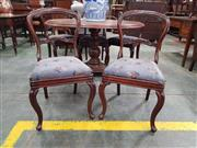 Sale 8917 - Lot 1086 - Set of Six Victorian Mahogany Balloon Back Dining Chairs, with grey floral upholstered seats & cabriole legs