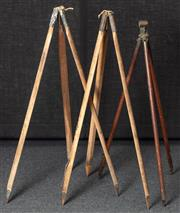 Sale 8984W - Lot 504 - A group of three tripods comprising an early military issue signal stand with rotating head together with two other early timber exa...