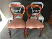 Sale 9034 - Lot 1029 - Set of 6 Balloon Back Dining Chairs inc Three Painted Examples (H:90 W:47cm)