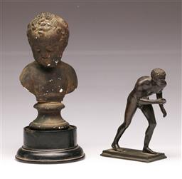 Sale 9107 - Lot 33 - A Bronze Nude Figural Study of A Man (H 16cm) Together with A Small Composite Boy Bust (H 26cm)
