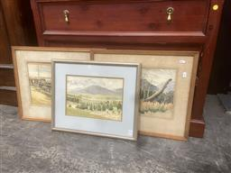 Sale 9106 - Lot 2053 - F. S. Rodriguez (3 works) Country Landscapes, watercolours (AF - 2), various sizes -
