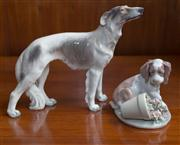 Sale 8313A - Lot 88 - A DJ Copenhagen figure of a Wolfhound HN 1137 height 18cm, together with a Lladro spaniel