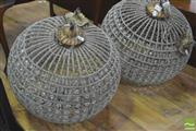 Sale 8418 - Lot 1070 - Pair of Basket Form Chandeliers
