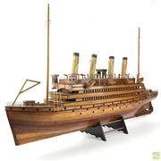 Sale 8649R - Lot 77 - Impressive Timber Model of a Four Funnel Liner (W: 91cm)