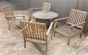Sale 8677A - Lot 53 - Five piece teak outdoor setting, table H x 60cm, W x 100cm