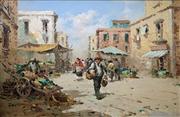 Sale 8663 - Lot 2025 - Artist Unknown - Market Scene, oil on canvas on board, 60.5x91cm, signed lower left -