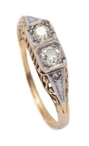 Sale 9012 - Lot 364 - A VINTAGE 18CT GOLD TWO DIAMOND RING; platinum capped top set with 2 Old European cut diamonds totalling approx. 0.20ct, M/N - P1, o...