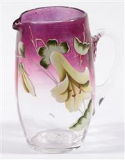 Sale 9003G - Lot 671 - Late 19th Century Bohemian Amethyst Tapered Glass Water Pitcher, c 1900 (H14.5cm)