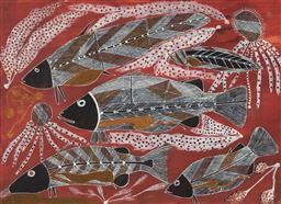 Sale 9099A - Lot 5042 - Ralph Nganjmire - Great White Barramundi 55 x 74.5 cm (frame: 73 x 91 x 2 cm)