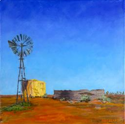 Sale 9137A - Lot 5028 - Deborah Donohue - Windmill and Tank, NSW 35.5 x 35.5 cm