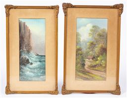 Sale 9170H - Lot 90 - Charles (Chaz) Young, Two works, Bush Track & Cape Franklin, oil on board, in gilt frames, 28.5cm x 14.5cm