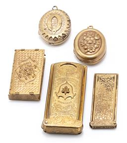 Sale 9190E - Lot 27 - A collection of brass needle carrier holders and lockets
