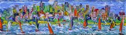 Sale 9191A - Lot 5005 - EVAN MACKLEY (1940 - 2019) Sailing by the City oil on canvas board 16 x 60 cm (frame: 37 x 81 x 5 cm) signed
