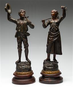 Sale 9211 - Lot 96 - A Pair of Cast Metal Farmer Figures (H: 47cm)