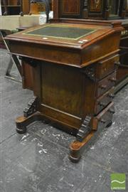 Sale 8335 - Lot 1001 - Victorian Burr Walnut Davenport, with hinged stationary compartment & green leather top, pierced brackets & four drawers