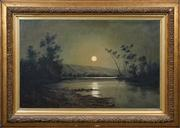 Sale 8420 - Lot 574 - Thomas Stanton Bowman (1845 - 1909) - Untitled, 1898 (Night Scene with River) 55 x 88cm