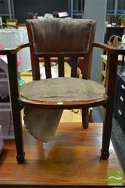 Sale 8515 - Lot 1080 - Timber Framed Armchair with Upholstered Back & Seat