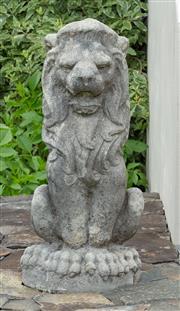 Sale 8677A - Lot 54 - Pair of stone lions, H x 64cm