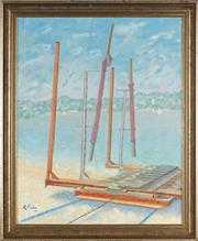 Sale 8789 - Lot 2013 - Roger Pietri (1921 - 2013) - Boat Loader, Sydney 59 x 49cm