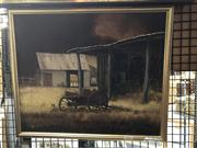 Sale 8824 - Lot 2021 - Clarrie Cox - Farmyard Scene, oil on board, frame size: 42 x 50cm, signed lower right