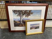 Sale 8888 - Lot 2053 - Joan Hancock (2 works) Moralana Gum; Devils Peakoil paintings, 46.5 x 61cm; 24.5 x 29.5cm (frames), signed -