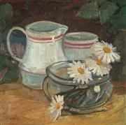 Sale 8947 - Lot 558 - After Margaret Preston (1875 - 1963) - Still Life with Jug and Daisies 26 x 26.5 cm (frame: 43 x 45 x 3 cm)