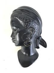 Sale 8963 - Lot 45 - Retro Black Plaster Plaque Of A Lady L: 10cm (Restored)