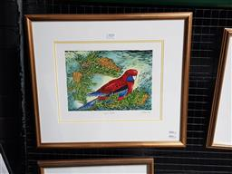 Sale 9127 - Lot 2039 - Yngvar Stroem-Hansen Crimson Rosella, handcoloured wood engraving, ed. 2/20, frame: 44 x 51 cm -