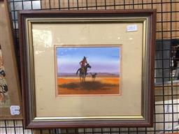 Sale 9139 - Lot 2059A - Arthur Hamblin (1933 - ) - Looking for Strays 12.5 x 16.5 cm (frame: 31 x 35 x 2.5 cm)