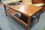 Sale 8326 - Lot 1016 - Unusual McIntosh Coffee Table with Slide Undershelf & Circular Glass Insert