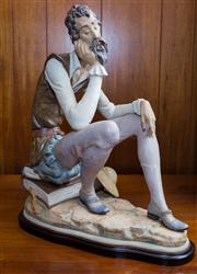 Sale 8313A - Lot 90 - A Lladro figure, Don Quixote Dreaming, on timber base, height 46cm
