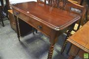 Sale 8390 - Lot 1048 - A Late 19th Century Cedar Side Table fitted with a long drawer on turned cotton reel legs (H 77 x W 99 x D 53cm)