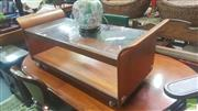 Sale 8451 - Lot 1091 - G-Plan teak tulip coffee table with glass top