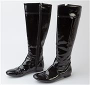 Sale 8550F - Lot 75 - A pair of Zara PVC black knee high, flat boots, some wear, size 37.