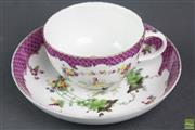 Sale 8594 - Lot 21 - 18th Century Meissen Academic Period Cup & Saucer with Purple Scale Border (tiny chip to rim)