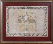 Sale 8625A - Lot 96 - A framed map; A Paris Cher Le Tour Rue Saint Jacque et Chaise Desnos Sun Les Globes et Sphers Len 1761, in silver gilt frame, total...