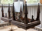 Sale 8677A - Lot 57 - A pair of ecclesiastical spires of square form, each height 98cm, W 100 x D 100