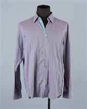 Sale 8770F - Lot 100 - A Hugo Boss slim-fit plaid shirt in green and mauve, size XL