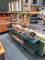 Sale 8908 - Lot 1043 - Modern Open Shelving with Metal Frame and Timber Shelves