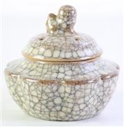 Sale 8989 - Lot 51 - Chinese Geyao Song Style Covered Censer With Lobed Body (Dia:12cm H:10cm)