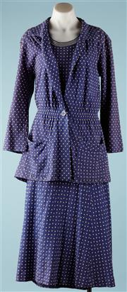 Sale 9090F - Lot 68 - A VINTAGE MISSONI THREE PIECE SUIT; 100% fine wool knit,  sleeveless top having striped ribbed edge to waist (tiny repair), skirt fu...