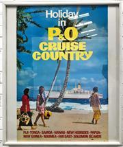 Sale 9092 - Lot 1015 - Vintage P&O cruise framed advertisement poster ( 104 x 83cm)