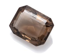 Sale 9107J - Lot 363 - A LARGE 183.15CT UNSET SMOKY QUARTZ; emerald cut 38.88 x 30.27 x 20.35mm, wt. 183.25ct.